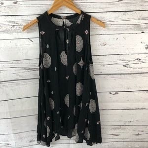 Free People Blouse Black Floral Print Size XS